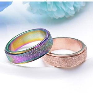 Jewelry - Rotating Rainbow-Rose Frosted Shimmer Ring New